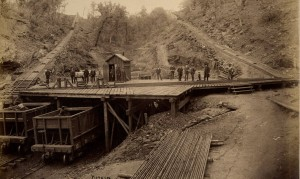 BMRR train cars at Ruffner mine late 1880s or early 1890s Source: Horgan